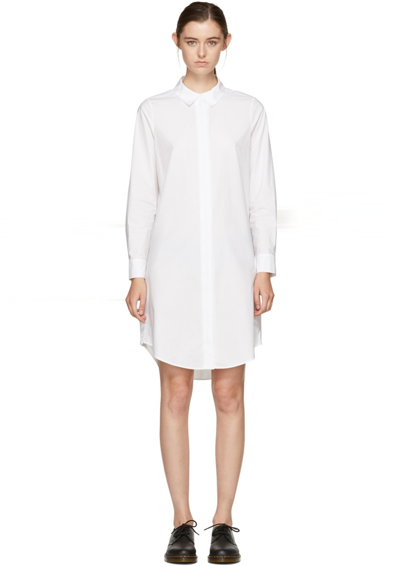 T By Alexander Wang T By Alexander Wang White Zip Shirt Dress Dresses