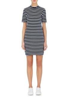 T by Alexander Wang Women's Striped Cotton-Blend Velvet Shift Dress