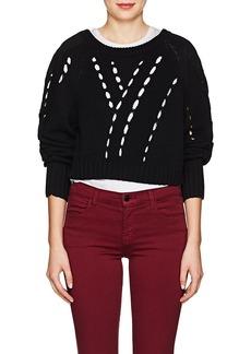 T by Alexander Wang alexanderwang.t Women's Twill-Paneled Cotton Crop Sweater