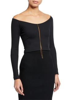 T by Alexander Wang Tech Bodycon Ribbed Off-Shoulder Top w/ Chain