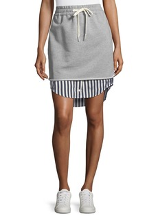 T by Alexander Wang Terry Stripe Combo Pull-On Skirt