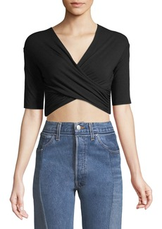 T by Alexander Wang Tie-Back Wrapped Crop Top