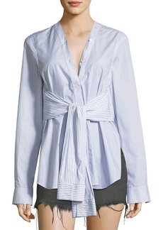 T by Alexander Wang Tie-Front Long-Sleeve Combo Striped Shirt