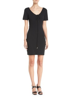 T by Alexander Wang Tie-Front Short-Sleeve Mini Dress