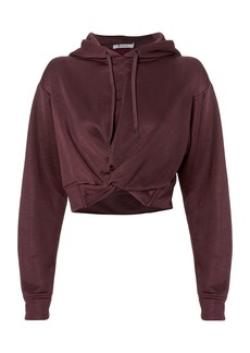 T by Alexander Wang Twist Front Cropped Hoodie