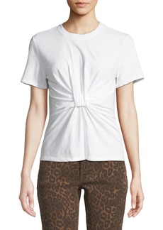 T by Alexander Wang Twist-Front Short-Sleeve Jersey Tee