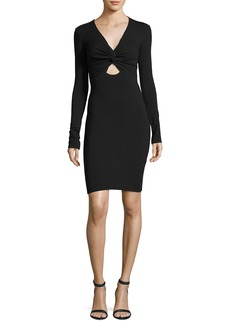 Twist-Front Stretch Long-Sleeve Dress
