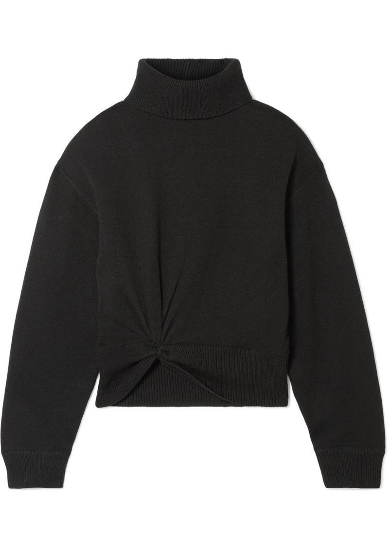 T by Alexander Wang Twist-front Wool Turtleneck Sweater