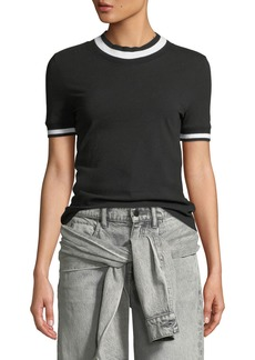 T by Alexander Wang Twist Jersey Short-Sleeve Tee with Striped Trim