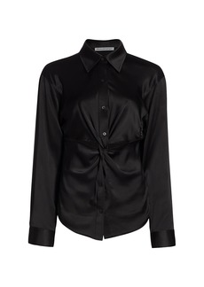 T by Alexander Wang Twisted Button-Down Top