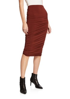 T by Alexander Wang Twisted Crepe Jersey Midi Skirt