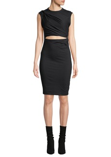 T by Alexander Wang Twisted Cutout Fitted Sleeveless Jersey Dress