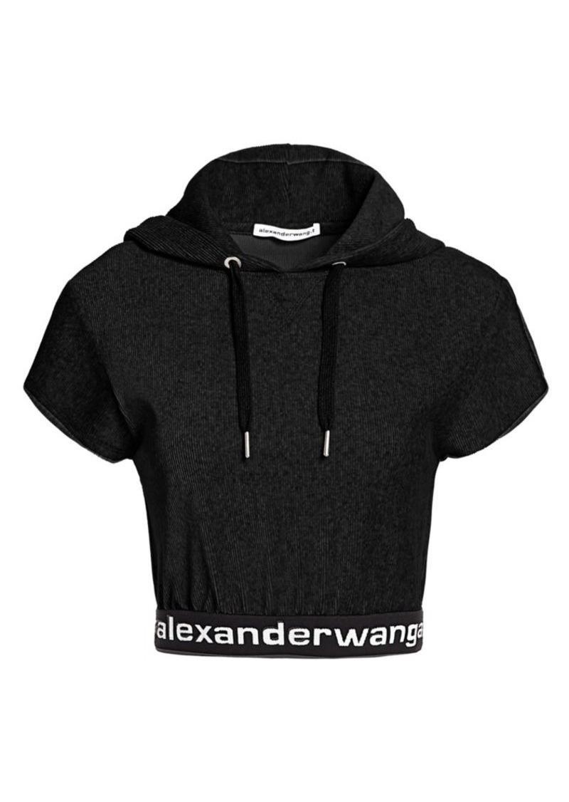 T by Alexander Wang Velour Cap-Sleeve Hoodie