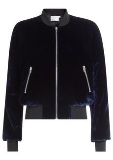 T by Alexander Wang Velvet Bomber Jacket with Silk