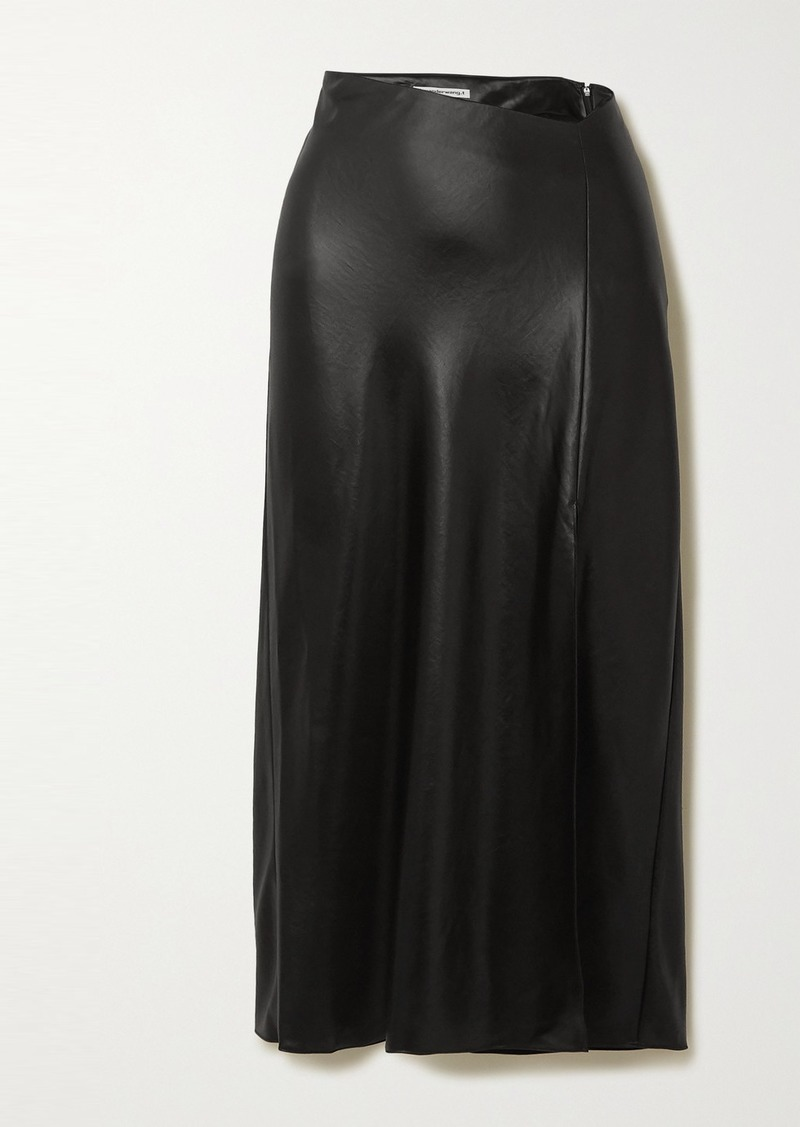 T by Alexander Wang Wash And Go Asymmetric Satin Midi Skirt