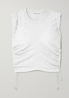 T by Alexander Wang Wash And Go Cropped Ruched Cotton-jersey Tank