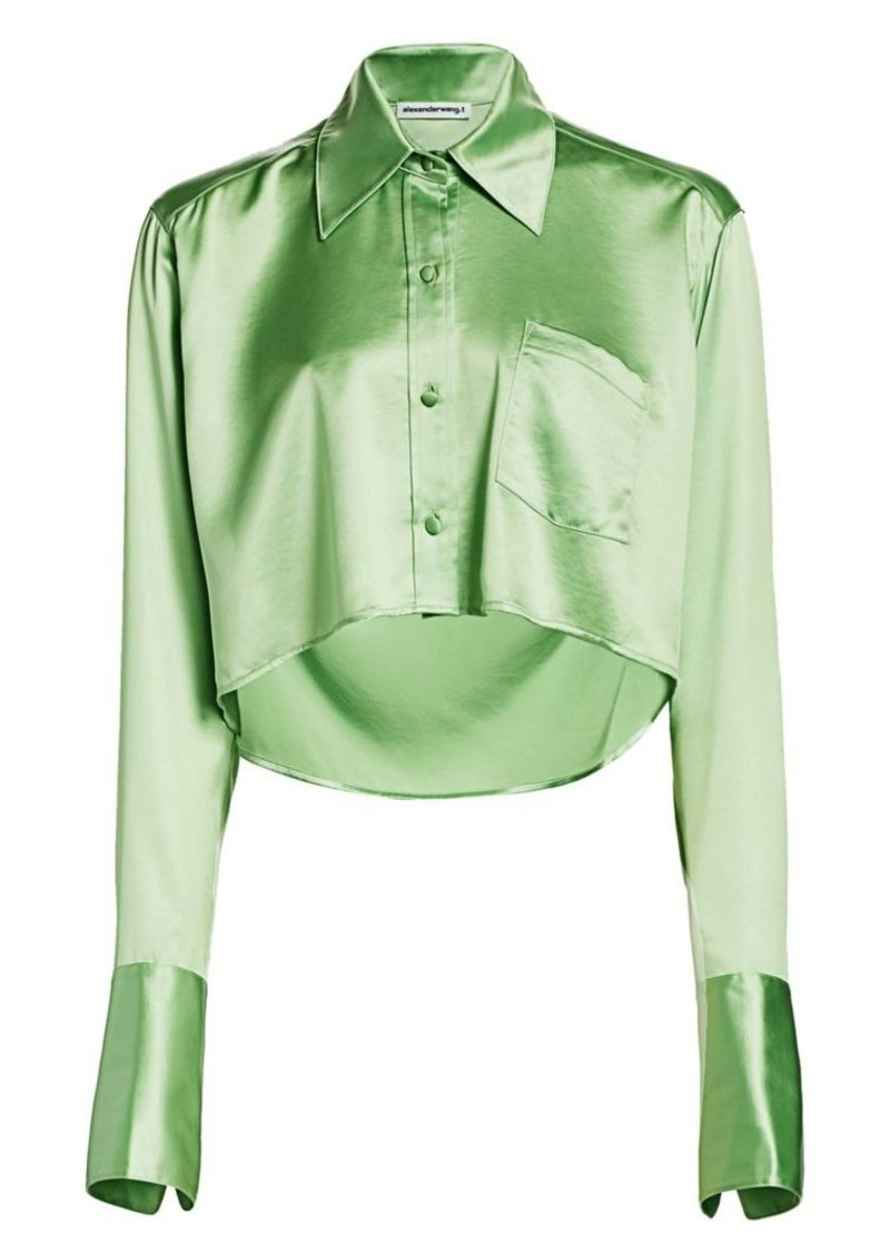 T by Alexander Wang Wet Shine Crop Blouse