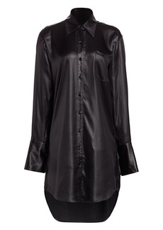 T by Alexander Wang Wet Shine Oversized Shirtdress