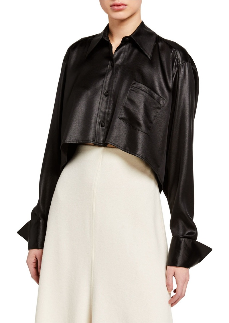 T by Alexander Wang Wet Shine Wash & Go Cropped Button-Down Top