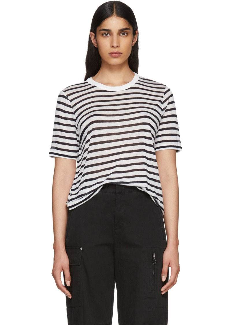 T by Alexander Wang White & Navy Striped Cropped T-Shirt
