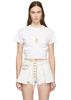 T by Alexander Wang White High Twist Keyhole Cropped T-Shirt