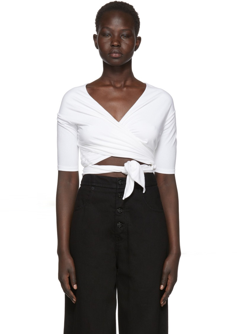 T by Alexander Wang White Stretch Jersey Double Layer Wrap T-Shirt