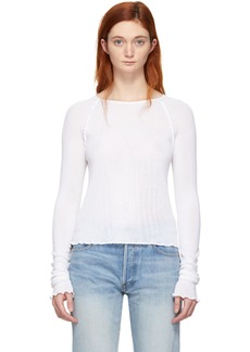 T by Alexander Wang White Wool Wash & Go Long Sleeve T-Shirt