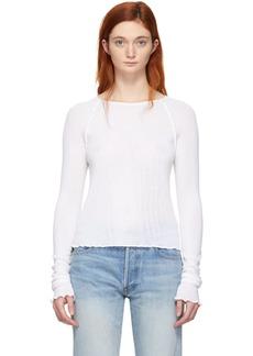 T by Alexander Wang White Wool Wash & Go Long Sleeve T-Shirt