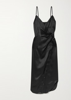T by Alexander Wang Wrap-effect Knotted Silk-charmeuse Midi Dress