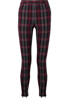 T by Alexander Wang Zip-embellished Plaid Cotton-blend Twill Skinny Pants