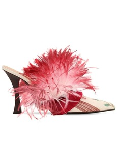 Tabitha Simmons 100mm Feather & Satin Mules