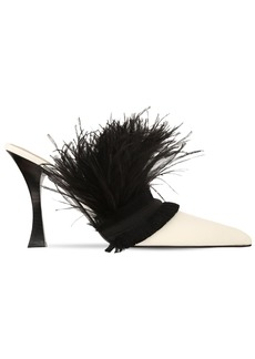 Tabitha Simmons 100mm Leather & Feather Mules