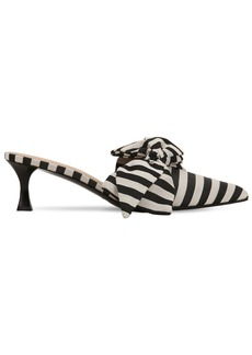 Tabitha Simmons 50mm Cotton Canvas Striped Mules