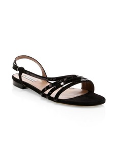 Tabitha Simmons Betty Sequin & Suede Flat Sandals