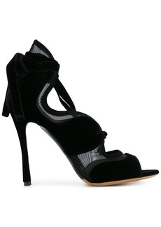 Tabitha Simmons Black Freya 120 Suede lace up sandals
