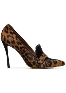Tabitha Simmons brown Caspian 100 leopard print ponyskin pumps