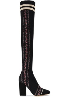 Tabitha Simmons Embroidered Mesh Irina 100 thigh high boots