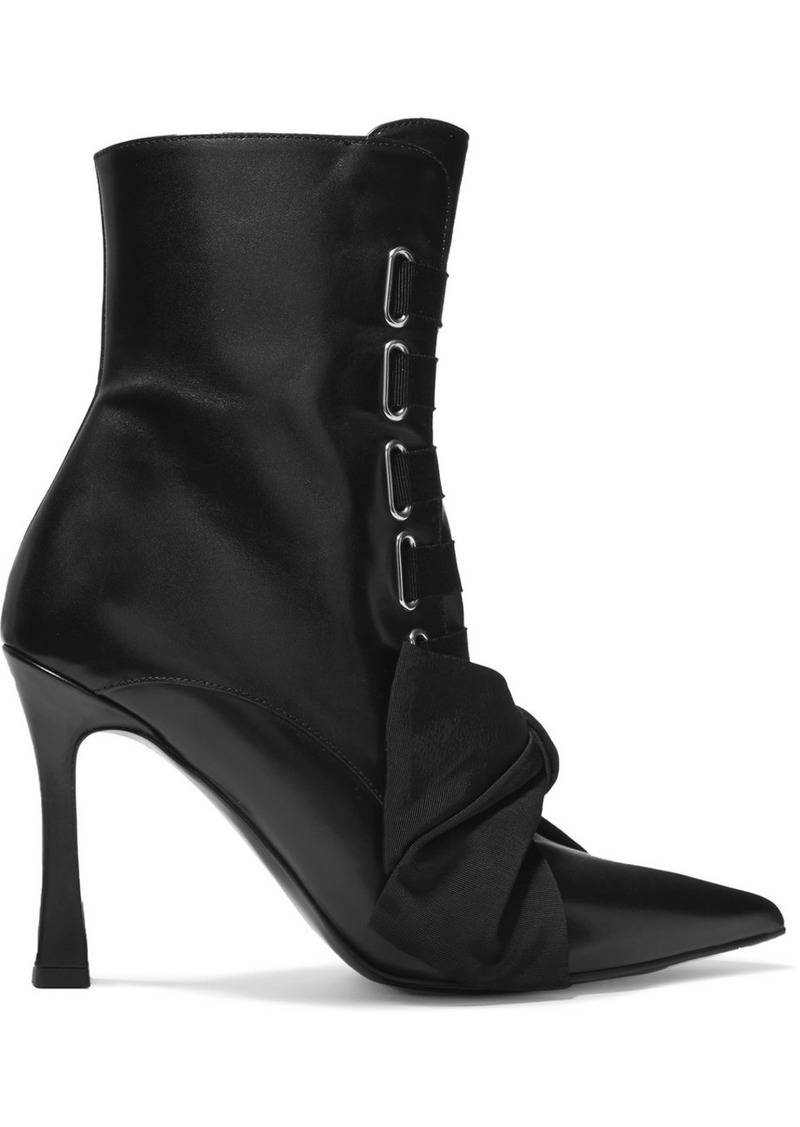 Tabitha Simmons Farren Bow-embellished Leather Ankle Boots