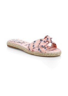 Tabitha Simmons Floral Knotted Espadrille Slide Sandals