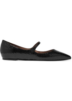 Tabitha Simmons Hermione Glossed Snake-effect Leather Point-toe Flats