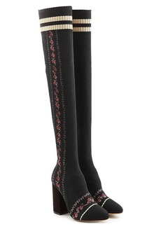 Tabitha Simmons Irina Embroidered Mesh Thigh-High Boots