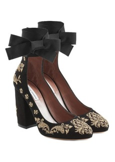 Tabitha Simmons Isabel Embroidered Suede Pumps