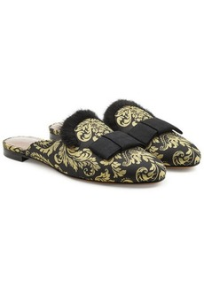 Tabitha Simmons Masha Damask Slippers with Mink Fur