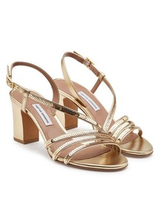 Tabitha Simmons Metallic Leather Charlie Sandals with Sequins