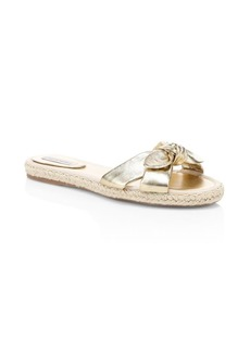 Tabitha Simmons Metallic Leather Espadrille Slides