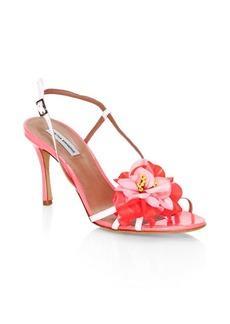 Tabitha Simmons Peony Appliqué Slingback Sandals