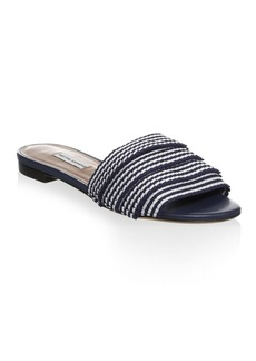 Tabitha Simmons Pleated Striped Slides