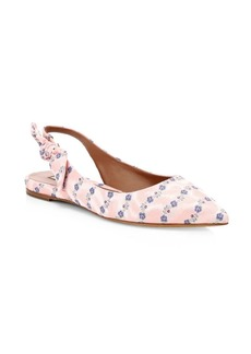 Tabitha Simmons Rose Flower Leather Slingback Flats