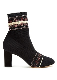 Tabitha Simmons Anna floral-embroidery sock ankle boot