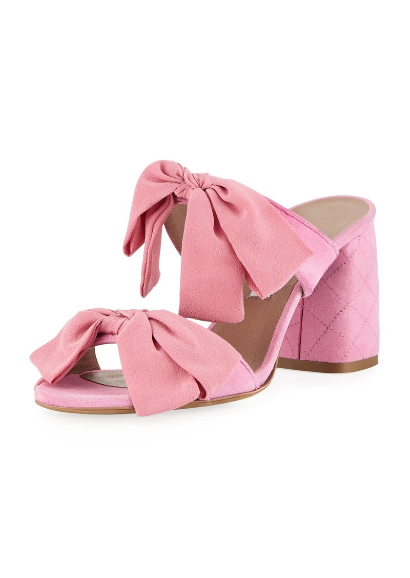 Tabitha Simmons Barbi Bow Suede Slide Sandals